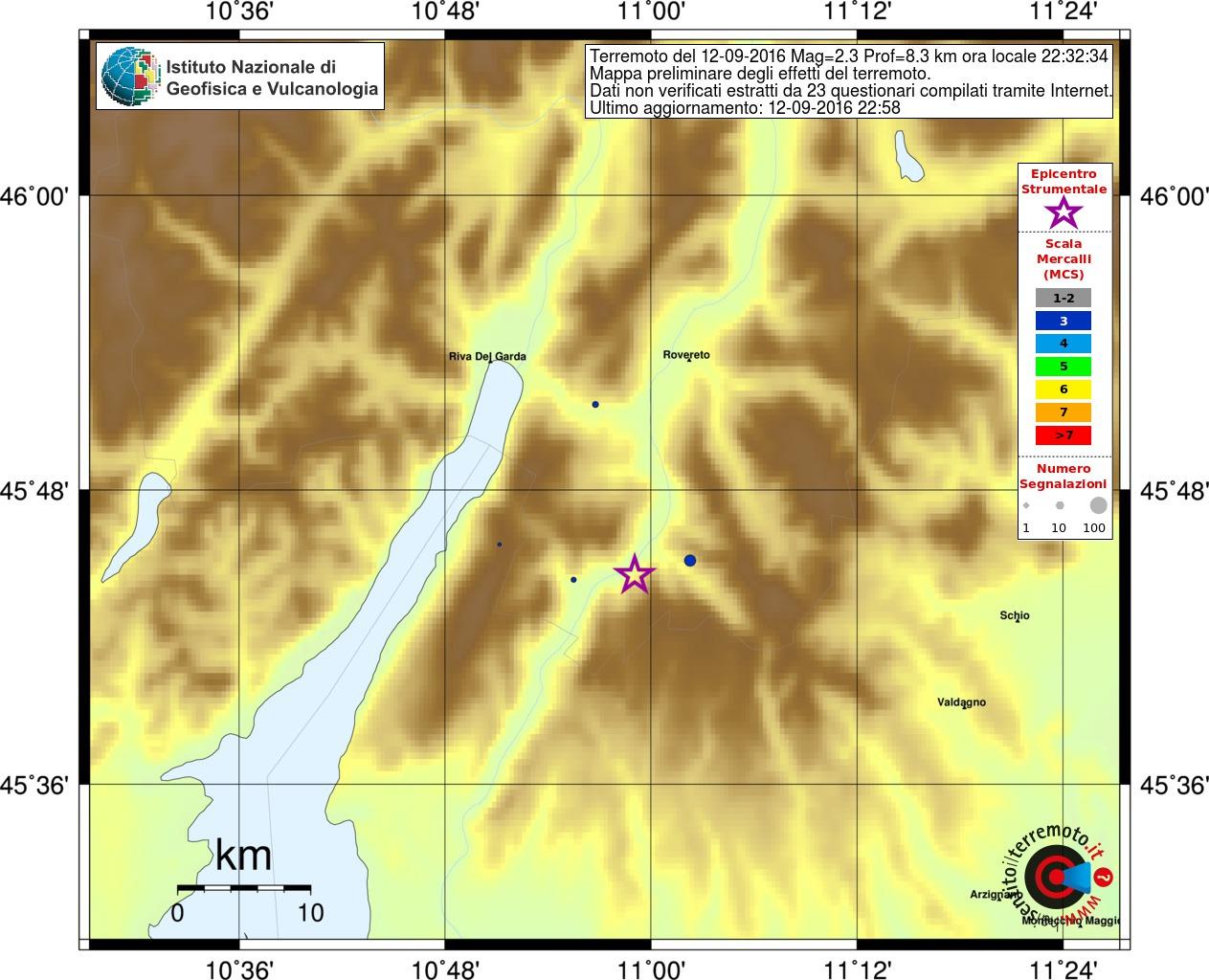 Terremoto, nuova scossa tra Trentino Alto Adige e Veneto: avvertita ad Ala, Mori, Avio e Rovereto [MAPPE e DATI INGV]