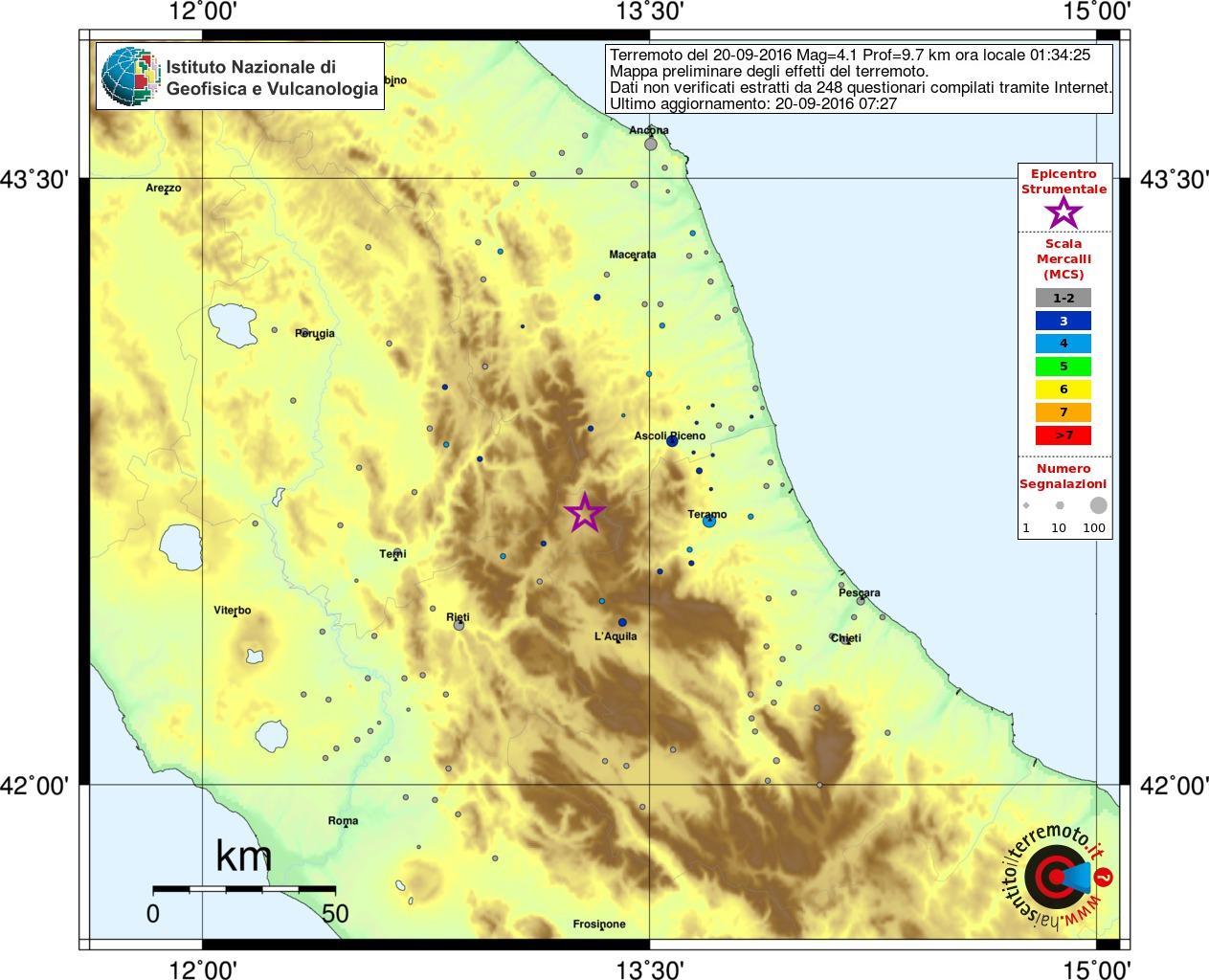 Terremoto Centro Italia: scosse nella notte, la più forte di magnitudo superiore a 4 [MAPPE e DATI INGV]