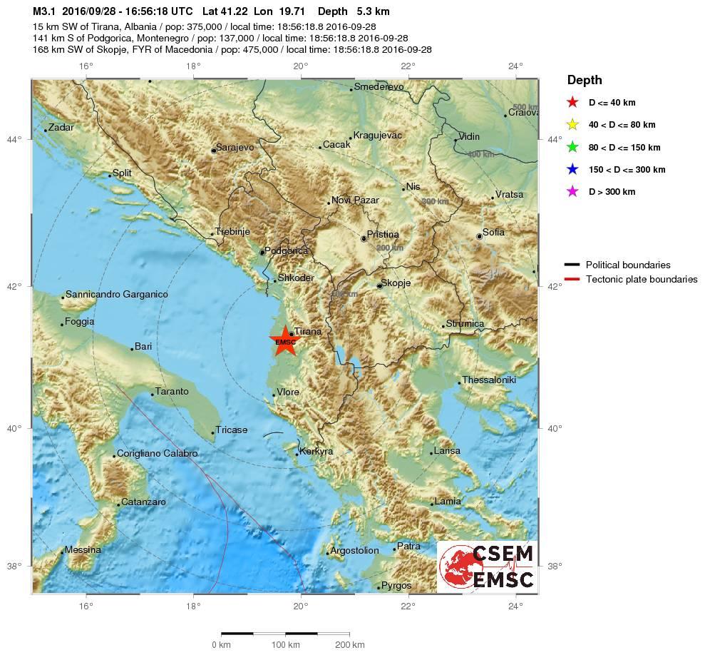 Scossa di terremoto in Albania: epicentro tra Tirana e Durazzo [MAPPE e DATI]