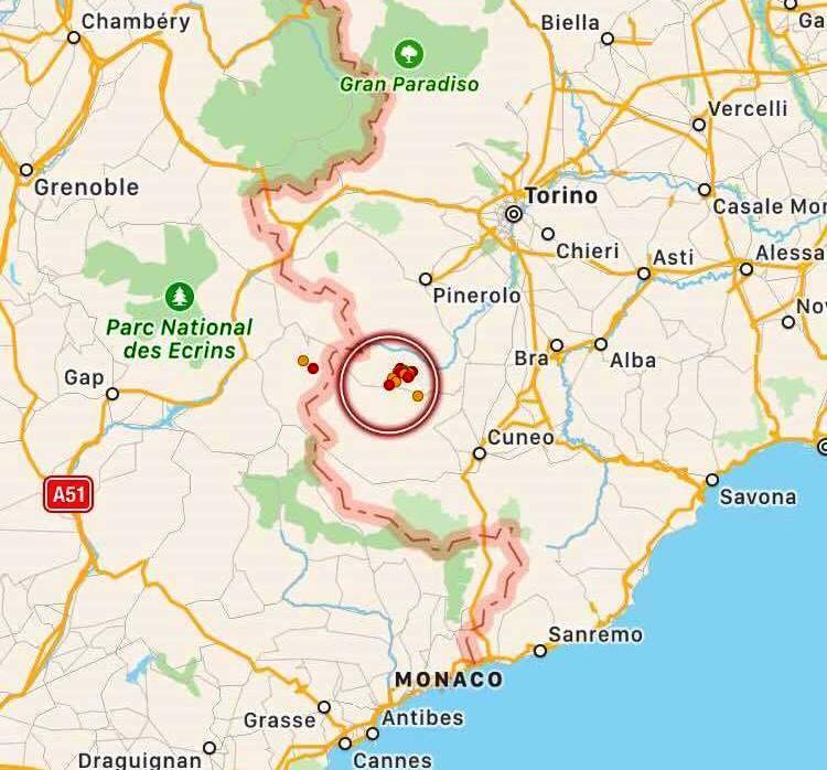 Terremoto, ancora una scossa in Piemonte: continua lo sciame sismico al confine con la Francia [MAPPE e DATI INGV]