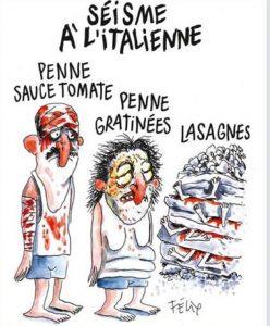 terremoto italia vignetta Charlie Hebdo