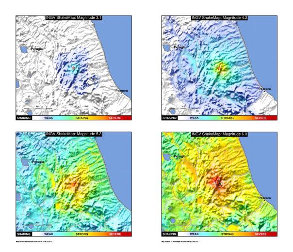 Confronto tra le mappe di scuotimento (in forma semplificata) di quattro diversi terremoti della sequenza sismica in corso in Italia centrale. In particolare, le mappe evidenziano il livello di scuotimento utilizzando colori più caldi (dall'azzurro al rosso intenso) man mano che scuotimento aumenta. La dicitura WEAK-STRONG-SEVERE (debole-forte-severo) definisce il livello di scuotimento (shaking) e consente una rapida valutazione del potenziale impatto dell'evento