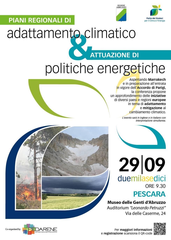 """Pescara: il 29 settembre la conferenza """"Piani regionali di adattamento climatico ed attuazione delle politiche energetiche"""""""