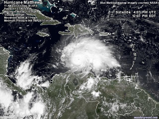 Il rarissimo uragano Matthew diventa di 3ª categoria, grande paura ai Caraibi [FOTO, VIDEO e MAPPE LIVE]