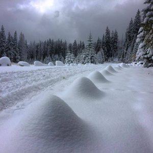 La fitta nevicata di ieri caduta sui monti Tatra