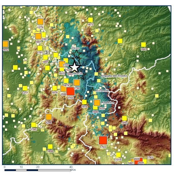 I terremoti storici estratti dal Catalogo Parametrico dei Terremoti Italiani (CPTI15) nell'area della sequenza (la stella bianca è l'evento del 30 ottobre, M 6.5)