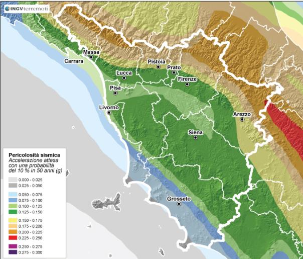 La pericolosità sismica della Toscana (fonte: http://zonesismiche.mi.ingv.it/)