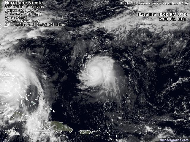 """Uragano, non solo """"Matthew"""": a pochi chilometri di distanza è nato """"Nicole"""""""