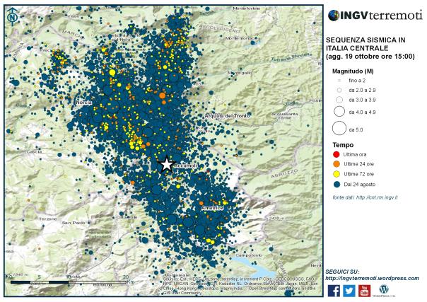 Terremoto Centro Italia: dal 24 agosto oltre 16800 eventi in un'area che si estende per circa 40 km