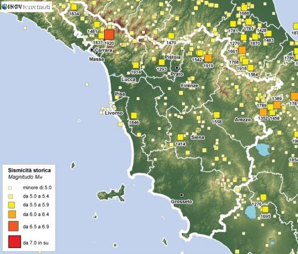 Sismicità storica della Toscana (fonte: CPTI)