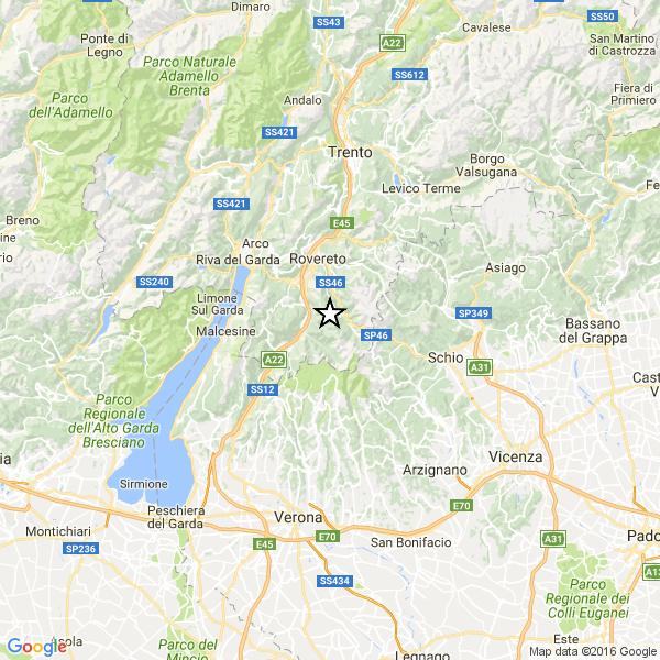 Scossa di terremoto sul Lago di Garda: avvertita a Rovereto e Ala