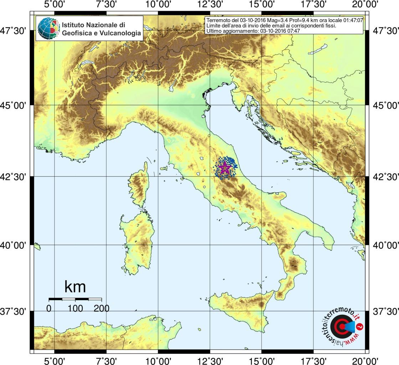 Terremoto Centro Italia, forte scossa nella notte: avvertita ad Ascoli Piceno, Teramo e Foligno [DATI e MAPPE INGV]