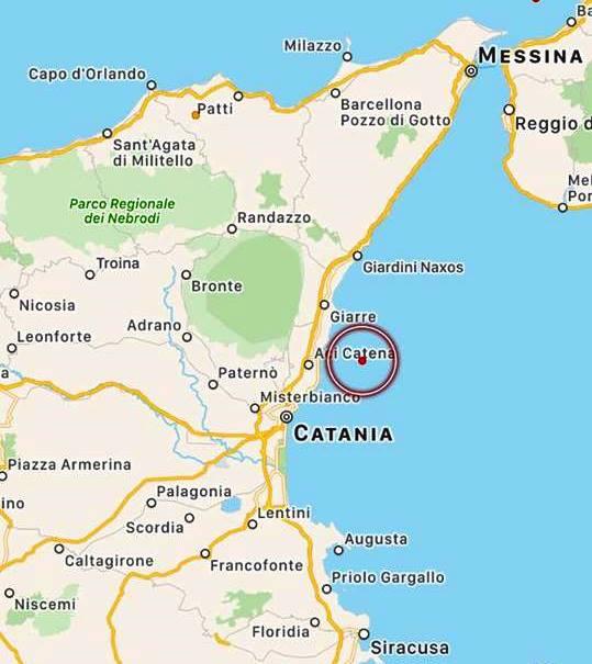 Terremoto sul Mar Jonio: scossa molto superficiale con epicentro appena al largo di Acireale [MAPPE e DATI INGV]