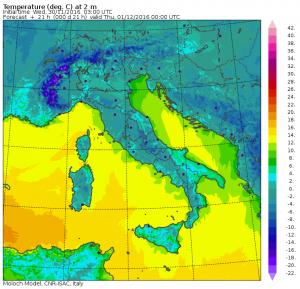 Le temperature previste al suolo per la prossima notte - Mappa MOLOCH CNR