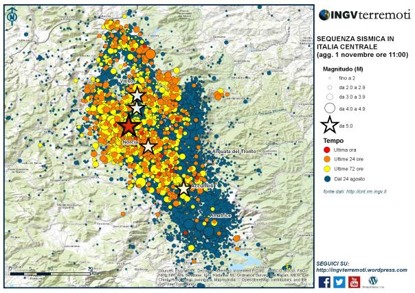 La mappa della sequenza sismica dal 24 agosto