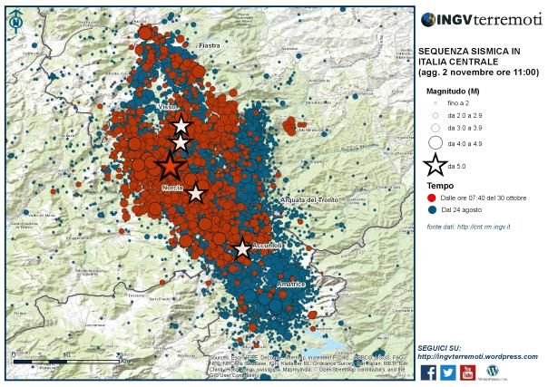 La sequenza sismica dal 24 agosto al 2 novembre. In rosso il terremoto del 30 ottobre alle ore 07:40 di magnitudo 6.5 (stella rossa) e le scosse successive
