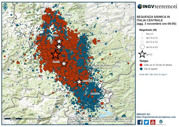 La sequenza sismica dal 24 agosto al 3 novembre. In rosso il terremoto del 30 ottobre alle ore 07:40 di magnitudo 6.5 (stella rossa) e le scosse successive