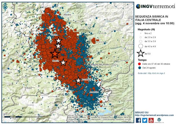 La mappa della sequenza dal 24 agosto con in evidenza (in colore rosso) gli eventi localizzati dopo il 30 ottobre
