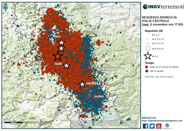 La mappa della sequenza sismica dal 24 agosto: in rosso gli eventi dell'ultima settimana, dalle ore 07:40 del 30 ottobre