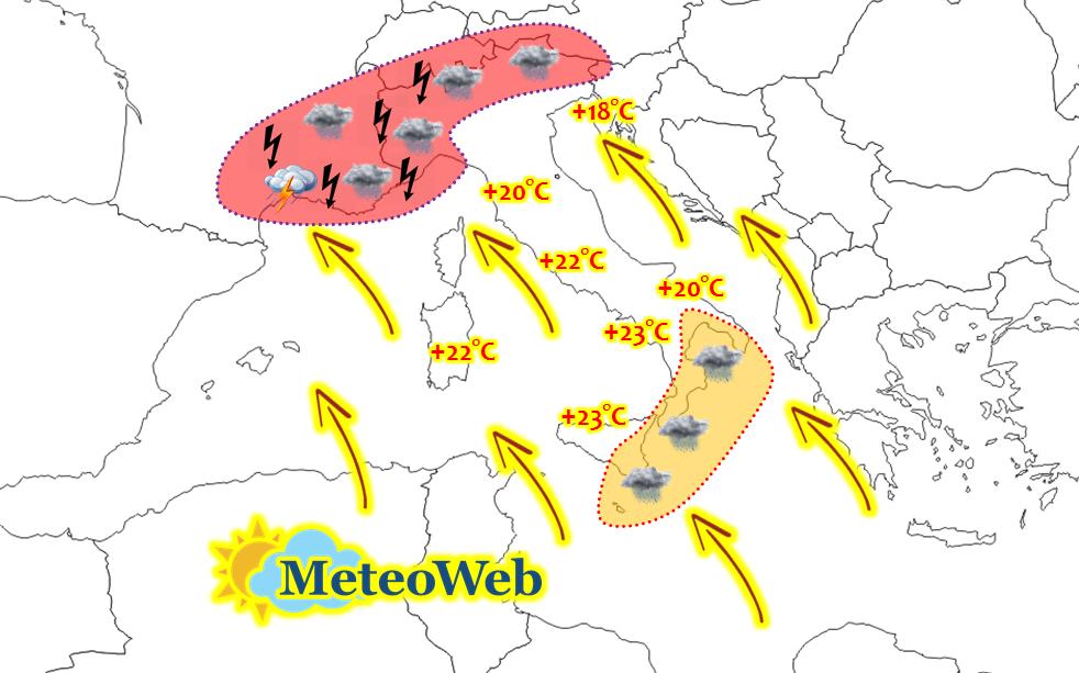 Previsioni Meteo: pericolosissimo flusso caldo-umido di scirocco, maltempo persistente in settimana