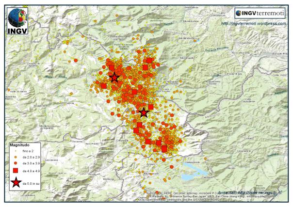La sequenza sismica in Italia centrale nel mese di agosto 2016