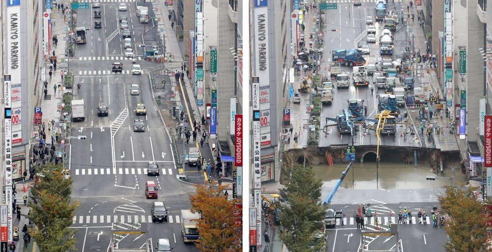 Giappone: la spettacolare voragine di 30 metri è stata riparata in soli due giorni [GALLERY]