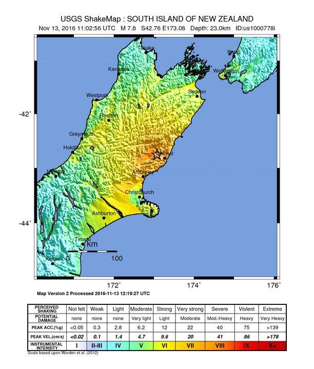 Terremoto Nuova Zelanda, anche l'istituto neozelandese GeoNet rivede la Magnitudo per la seconda volta: è stato 7.8