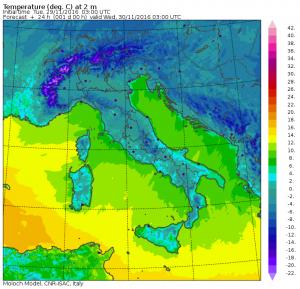 temperature minime domani mattina
