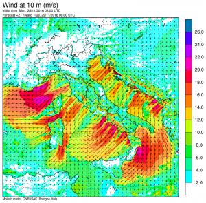 I forti venti nord-orientali attesi sull'Italia nei prossimi giorni
