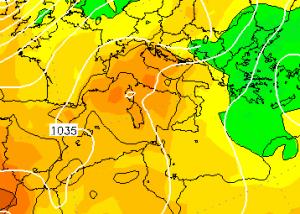 Le temperature di oggi in libera atmosfera, ad 850hPa (circa 1.500 metri di altitudine)