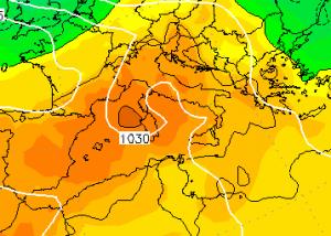 Le temperature previste per Lunedì 26 Dicembre in libera atmosfera, ad 850hPa (circa 1.500 metri di altitudine)