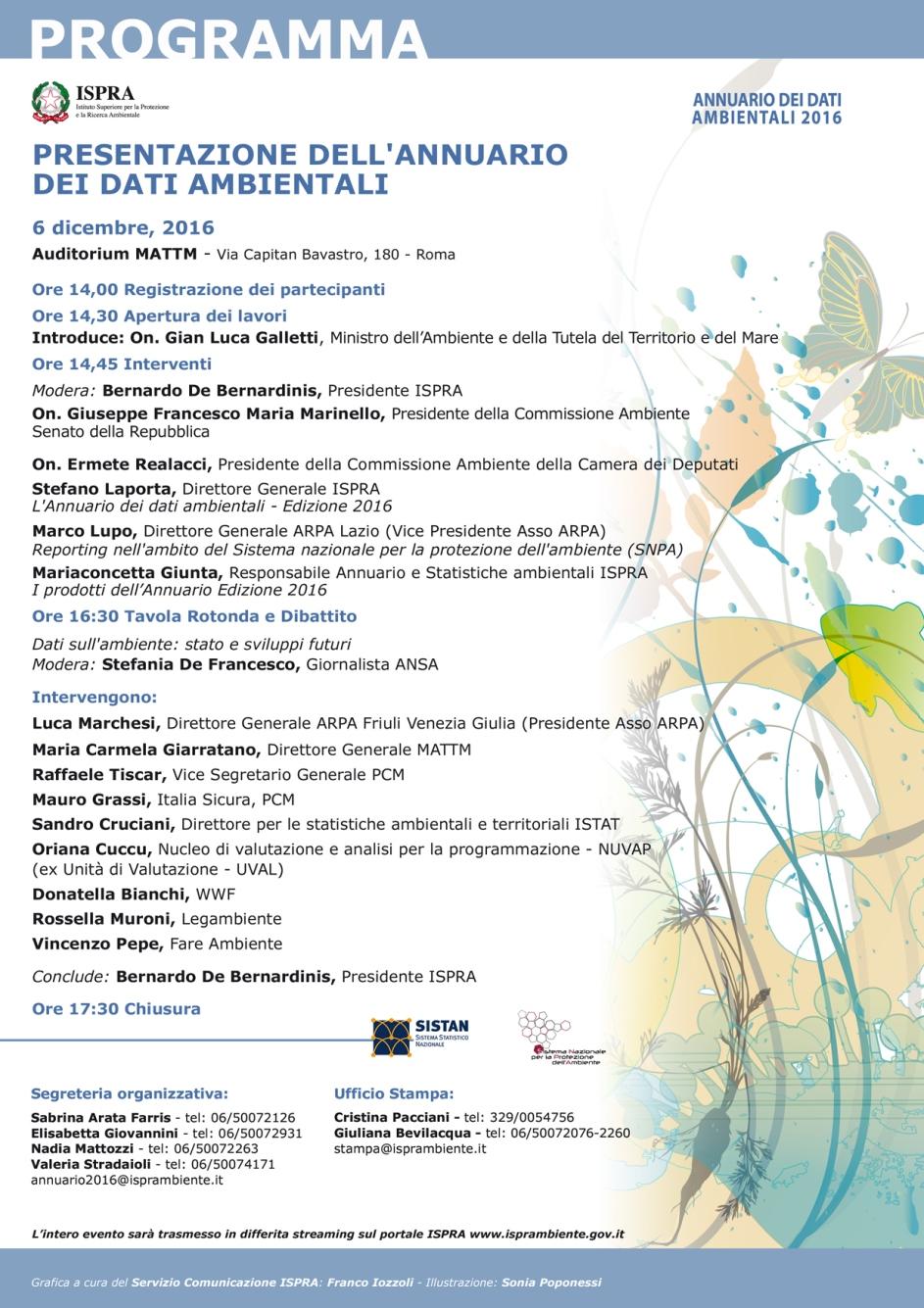 Ambiente    martedì 6 Dicembre a Roma la presentazione dell'Annuario ISPRA PROGRAMMA