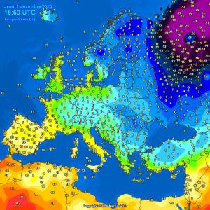 L'aria molto fredda che comincia ad accumularsi fra Scandinavia e Russia europea