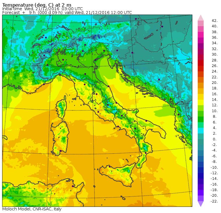 Le temperature massime previste per le ore 13:00 di oggi