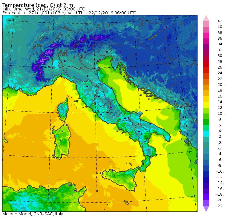 Le temperature minime previste per le 07:00 di domani, Giovedì 22 Dicembre