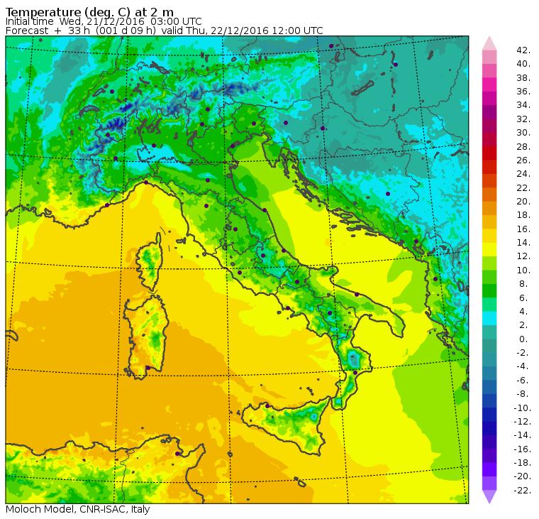 Le temperature massime previste per le ore 13:00 di domani, Giovedì 22 Dicembre