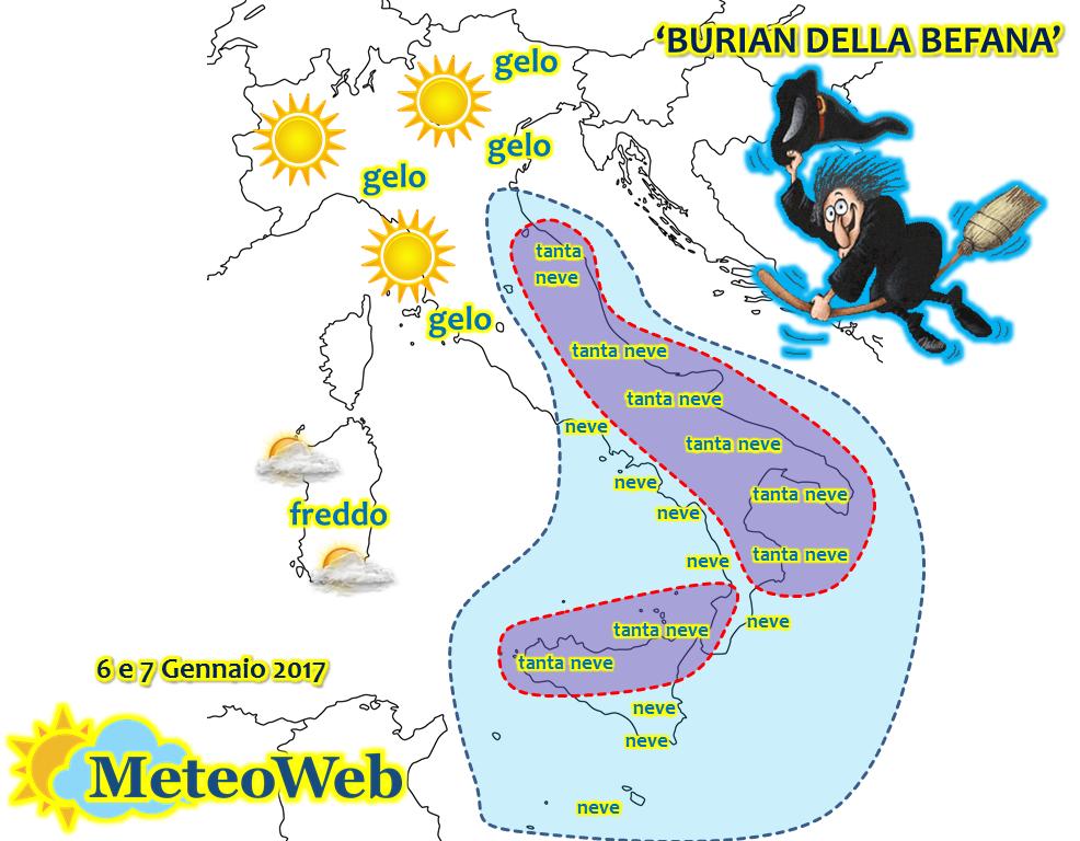 allerta meteo burian della befana italia mappe e dettagli città per città meteoweb