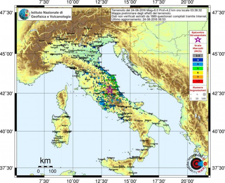 Il risentimento sismico del terremoto del 24 agosto 2016 in Italia centrale