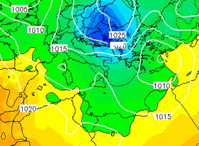 Le temperature ad 850hPa sull'Italia alle ore 07:00 di domani, Martedì 10 Gennaio