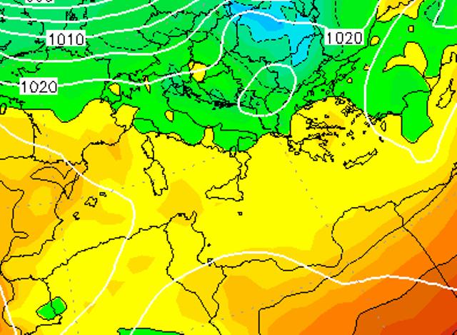 Le temperature ad 850hPa sull'Italia alle ore 07:00 di  Govedì 12 Gennaio