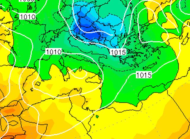 Le temperature ad 850hPa sull'Italia alle ore 19:00 di domani, Martedì 10 Gennaio