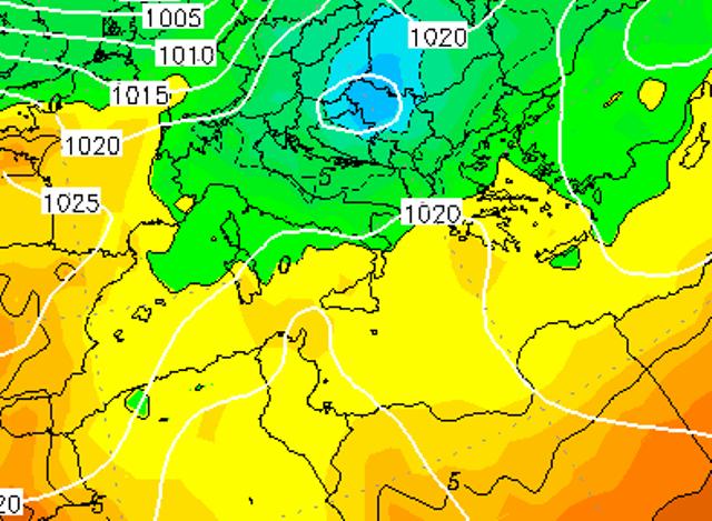 Le temperature ad 850hPa sull'Italia alle ore 19:00 di dopodomani, Mercoledì 11 Gennaio