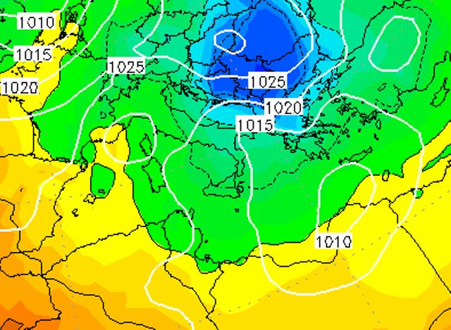 Le temperature ad 850hPa sull'Italia alle ore 19:00 di oggi, Lunedì 9 Gennaio