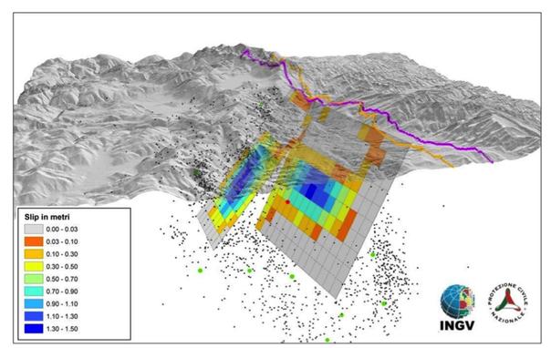 Visione in tre dimensioni del piano di faglia attivatosi in seguito al sisma del 24 agosto 2016