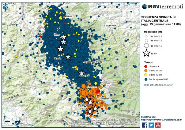 Aggiornamento della sequenza sismica nel Centro Italia dopo i terremoti del 18 gennaio 2017
