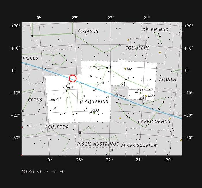 Questo grafico mostra le stelle visibili a occhio nudo in una notte buia e serena nella vasta costellazione dell'Acquario. È indicata la posizione della nana ultrafredda, rossa e molto debole, nota come TRAPPIST-1. Anche se relativamente vicina al Sole, la sua debole luce la rende non visibile anche con un piccolo telescopio. Credit: ESO/IAU and Sky & Telescope