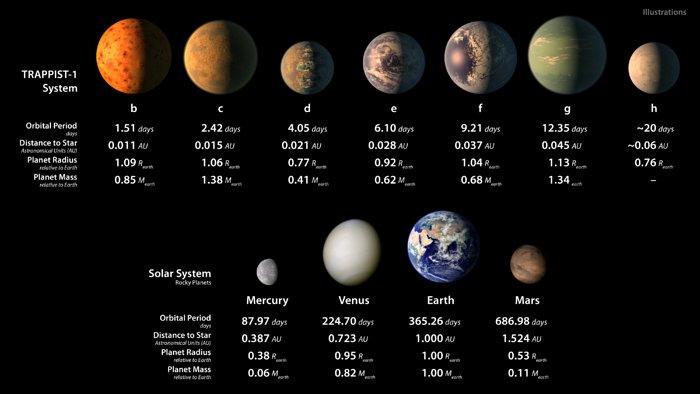 Questa infografica mostra alcune rappresentazioni artistiche di come potrebbero apparire i sette pianeti in orbita intorno a TRAPPIST-1 - inclusi alcuni possibili oceani d'acqua - insieme a immagini dei pianeti rocciosi del Sistema Solare. I valori delle dimensioni e dei periodi orbitali di tutti i pianeti sono indicati per confronto; i pianeti di TRAPPIST-1 sono tutti di dimensioni paragonabili a quelle della Terra. Credit: NASA