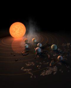 Questa rappresentazione artistica mostra TRAPPIST-1 e i suoi pianeti su una superficie riflettente. La potenziale presenza di acqua suii pianeti è evocata dalla brina, dalle gocce d'acqua e dal vapore che circonda la scena. L'immagine è sulla copertina del numero del 22 febbraio 2017 di Nature. Credit: NASA/R. Hurt/T. Pyle