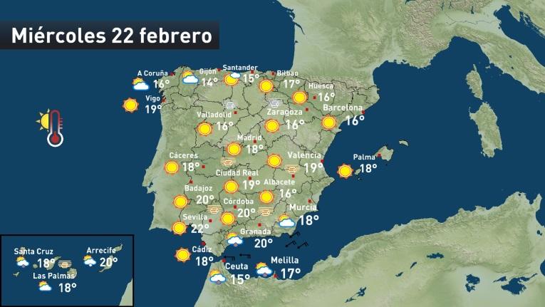 Cartina Meteo Spagna.Meteo Scoppia La Primavera In Spagna Temperature Sopra I 20 C Nel Sud Meteoweb