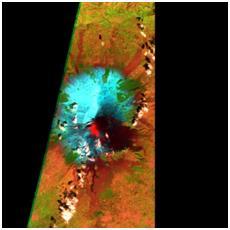 Figura 1 Immagine a falsi colori utilizzando le bande 4,8 e 12 di Sentinel-2A (16 Marzo 2017). Il flusso lavico è evidenziato in rosso